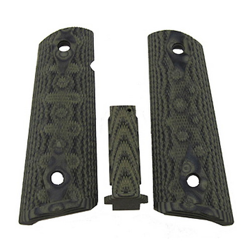 Hogue 01258 Government G10 Mag Grip Kit Checkered Flat Mainspring, Olive Drab Green Camo