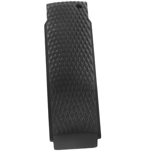 Hogue 01376 Colt 1911 Government Mainspring Housing Aluminum Checkered Arched Brushed Gloss Black Anodized