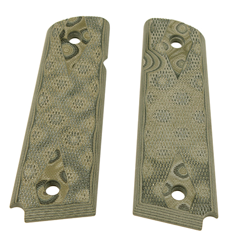 Hogue 01458 1911 Government|Commander 9|32 in.  Thick Grips G-10 Checkered G-Mascus Green