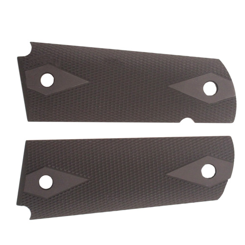 Hogue 01470 1911 Government|Commander 3|16 in.  Thin Grips Aluminum Checkered Matte Black Anodized