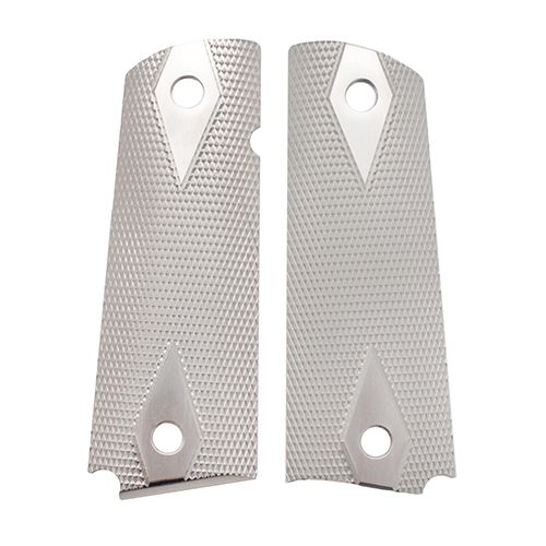 Hogue 01475 1911 Government Commander 3 16 in.  Thin Grips Aluminum Checkered Brushed Gloss Clear Anodized