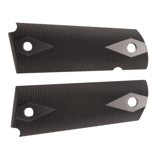 Hogue 01476 1911 Government|Commander 3|16 in.  Thin Grips Aluminum Checkered Brushed Gloss Black Anodized