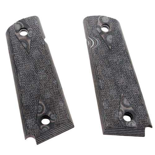 Hogue 01457-BLKGRY 1911 Government|Commander 9|32 in.  Thick Grips G-10 Checkered G-Mascus Black|Gray