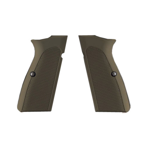 Hogue 09171 Browning Hi Power Grips Checkered Aluminum Matte Green Anodized