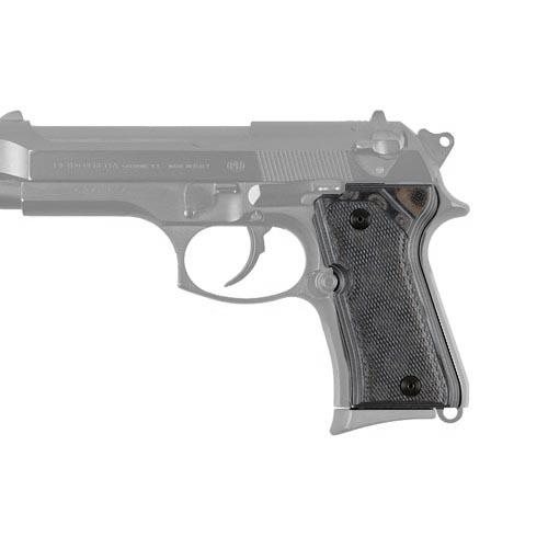 Hogue 93177-BLKGRY Beretta 92 Compact Grips Checkered G-10 G-Mascus Black|Gray