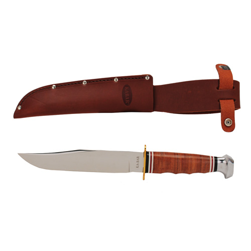 Ka-Bar 1236 Bowie Leather Handle Fixed DIN 1.4116 Clip Point Blade Leather