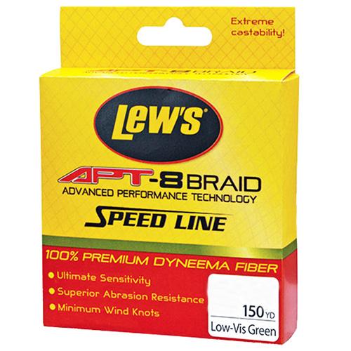 Lews Fishing LAPTB6NGR APT-8 Braid Speed Line 6 lbs, 150 Yards, Low-Vis Green