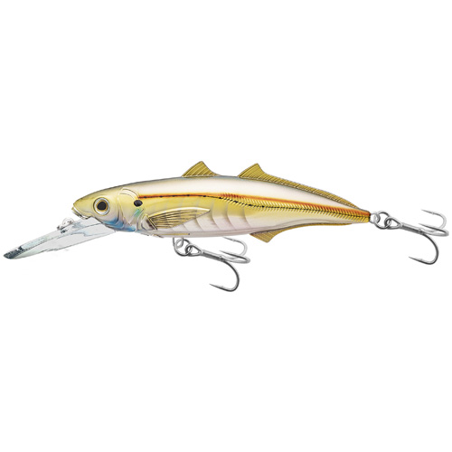 LiveTarget Lures CMJ152D961 Cigar Minow Jerkbait Saltwater, 6 in. , #2|0 Hook, 15'-20' Depth, Pearl|Gold