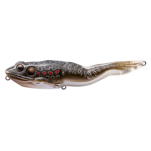 LiveTarget Lures FGW105T503 Frog Walking Bait Freshwater, 4 1|8 in. , #4 Hook, Topwater Depth, Brown|Black