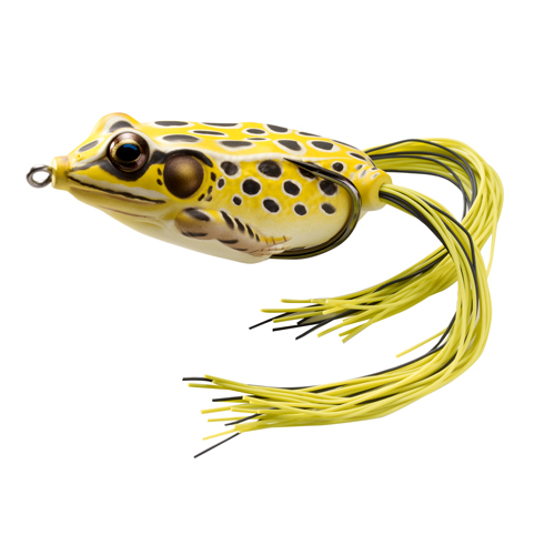 LiveTarget Lures FGH55T501 Frog Hollow Body Freshwater, 2 1|4 in. , #1|0 Hook, Topwater Depth, Yellow|Black