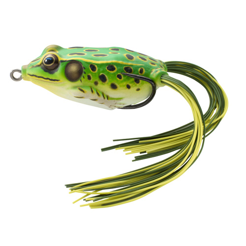 LiveTarget Lures FGH65T512 Frog Hollow Body Freshwater, 2 5|8 in. , #2|0 Hook, Topwater Depth, Floro Green|Yellow