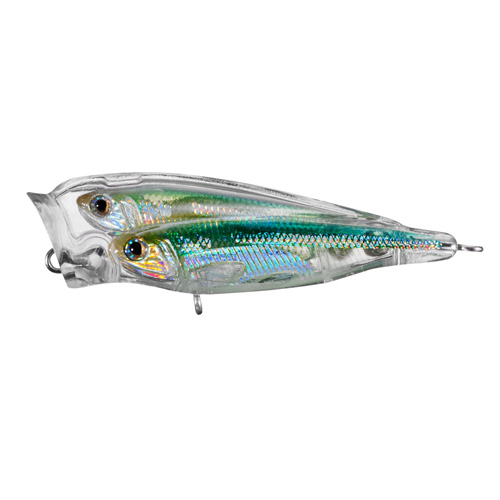 LiveTarget Lures GBP75T952 Glass Minnow Juvenile Baitball Popper Saltwater, 3 in. , #4 Hook, Topwater Depth, Silver|Green