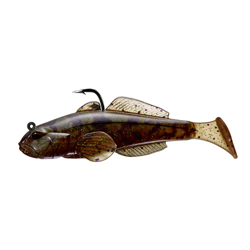 LiveTarget Lures GOB80PT607 Goby Paddle Tail Freshwater, 3 1|4 in. , #1|0 Hook, Variable Depth, Brown|Pumpkin