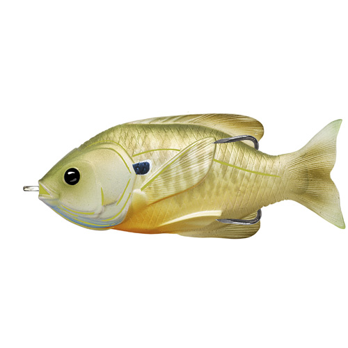 LiveTarget Lures SFH90T554 Sunfish Hollow Body Freshwater, 3 1|2 in. , #4|0 Hook. Topwater Depth, Natural|Green Bluegill