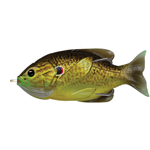 LiveTarget Lures SFH90T556 Sunfish Hollow Body Freshwater, 3 1|2 in. , #4|0 Hook. Topwater Depth, Bronze Pumpkinseed
