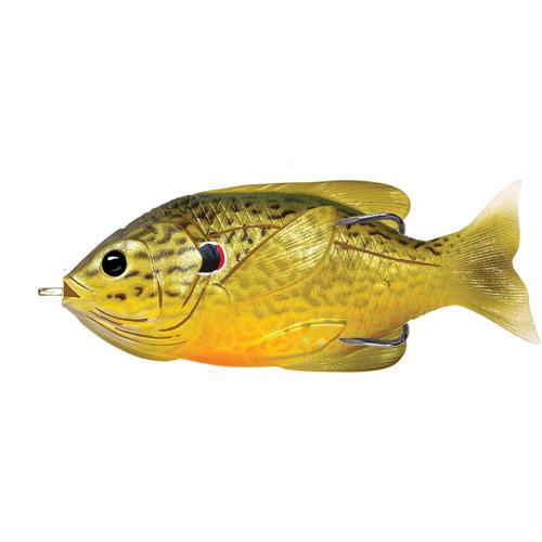 LiveTarget Lures SFH90T557 Sunfish Hollow Body Freshwater, 3 1|2 in. , #4|0 Hook. Topwater Depth, Green|Bronze Pumpkinseed