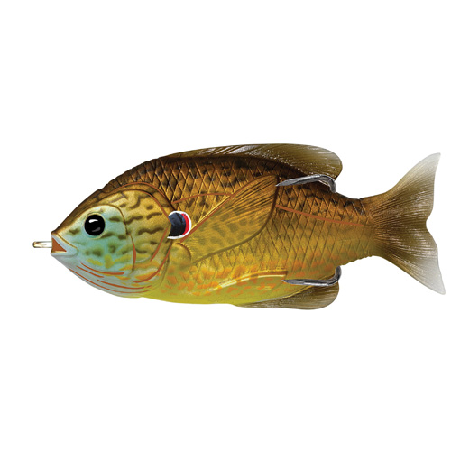 LiveTarget Lures SFH90T558 Sunfish Hollow Body Freshwater, 3 1|2 in. , #4|0 Hook. Topwater Depth, CopperPumpkinseed