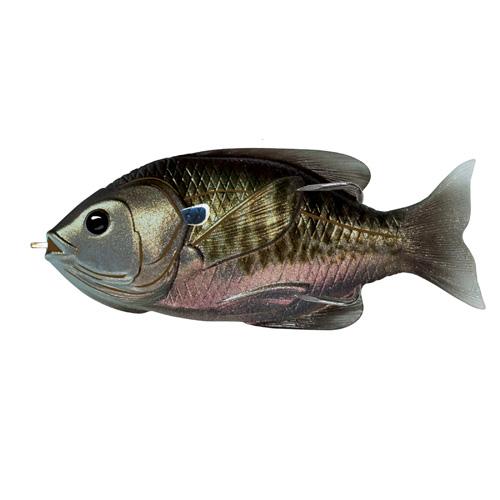 LiveTarget Lures SFH90T561 Sunfish Hollow Body Freshwater, 3 1|2 in. , #4|0 Hook. Topwater Depth, Midnight|Metallic Bluegill