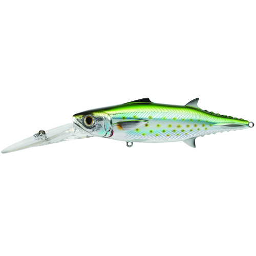 LiveTarget Lures SMK120D933 Spanish Mackerel Trolling Bait Saltwater, 4 3|4 in. , #1|0 Hook, 0'-15+' Depth, Silver|Green
