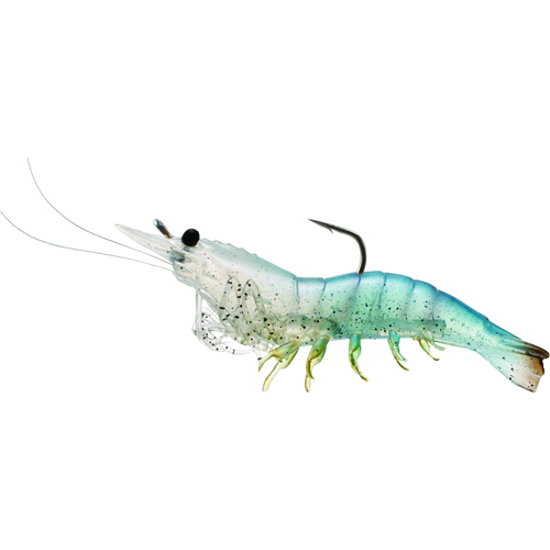 LiveTarget Lures SSF75SK912 Rigged Shrimp Soft Plastic Saltwater, 3 in. , #1|0 Hook, Variable Depth, White Shrimp, Per 4