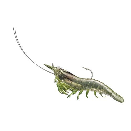 LiveTarget Lures SSF75SK918 Rigged Shrimp Soft Plastic Saltwater, 3 in. , #1|0 Hook, Variable Depth, Grass Shrimp, Per 4