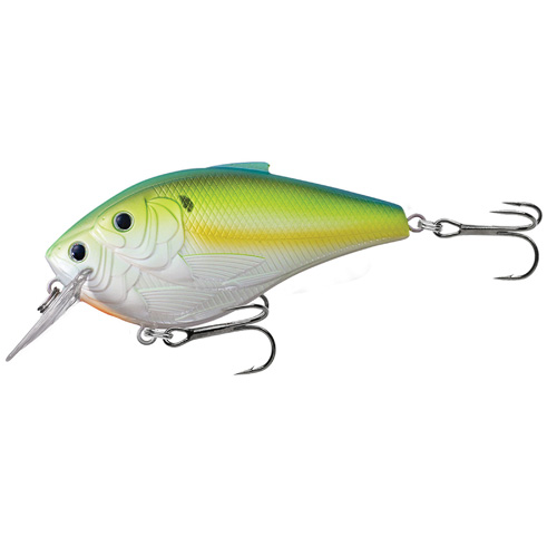 LiveTarget Lures TBB85S827 Threadfin Shad Squarebill Freshwater, 3 1|2 in. , #1|0 Hook, 5'-6' Depth, Chartreuse|Pearl|Blue