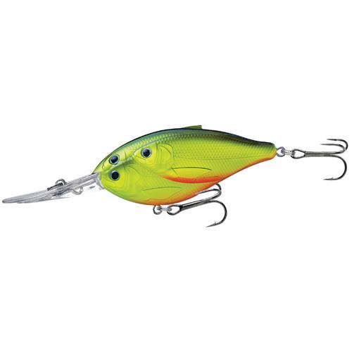 LiveTarget Lures TDD80D824 Threadfin Shad Crankbait Freshwater, 3 in. , #2 Hook, 16' Depth, Chartreuse Black