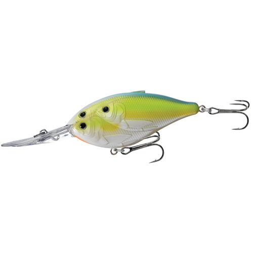 LiveTarget Lures TDD90D827 Threadfin Shad Crankbait Freshwater, 3 1|2 in. , #1 Hook, 20' Depth, Chartreuse|Peal Blue