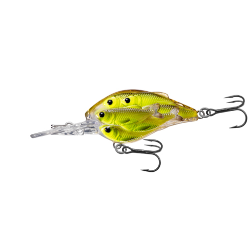 LiveTarget Lures YCB50M818 Yearling Baitball Crankbait Freshwater, 2 in. , #6 Hook, 6'-7' Depth, Chartreuse|Black