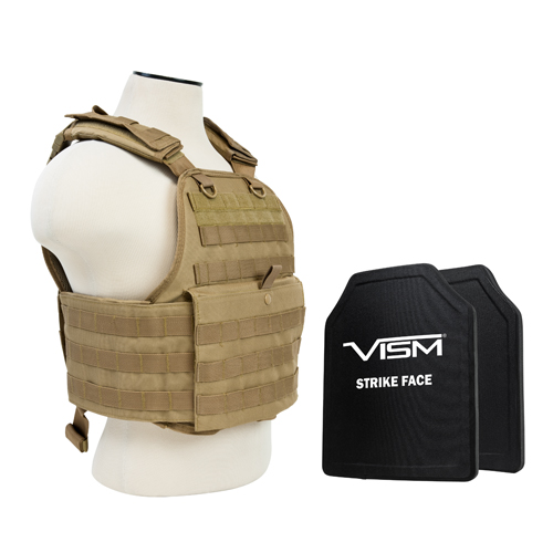 NcStar Plate Carrier Vest/Two 10 in. X12 in. /Tan