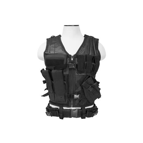 NCStar CTV2916B Tactical Vest Black M-XL Tough PVC/Mesh Webbing