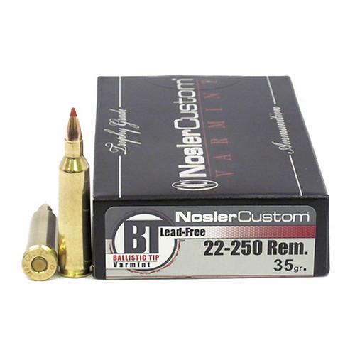 Nosler 60006 Trophy Grade 22-250 Remington 35 GR Ballistic Tip Lead-Free 20 Bx| 10 Cs