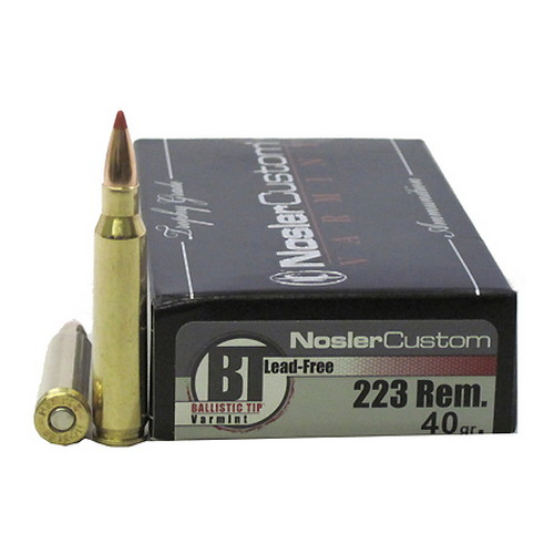 Nosler 60007 Trophy Grade 223 Remington 5.56 NATO 40 GR Ballistic Tip Lead-Free 20 Bx  10 Cs