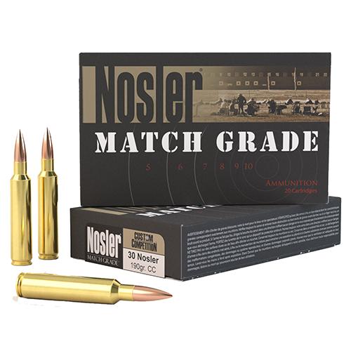 Nosler 60029 Match Grade 30 Nosler 190 GR Custom Competition 20 Bx| 10 Cs