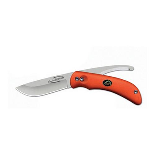 Outdoor Edge SZ20NC Swing Blaze Orange 3.6 Skinner|3.2 in.  Gut Hook AUS-8 Stainless Steel Drop Point Skinner|Gut Hook Rubberized Kraton Orange in.