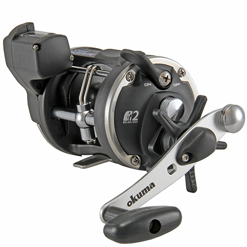 Okuma MA-20DLXT Magda Pro DXT Linecounters Reel 5.1:1 Gear Ratio, 2BB Bearings, 15 lb Max Drag, 23 in.  Line Retrieve, Left Hand