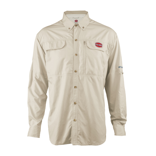 PENN 1321544 Vented Performance Long Sleeve Shirts Tan, Medium