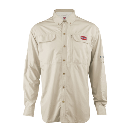 PENN 1321546 Vented Performance Long Sleeve Shirts Tan, X-Large