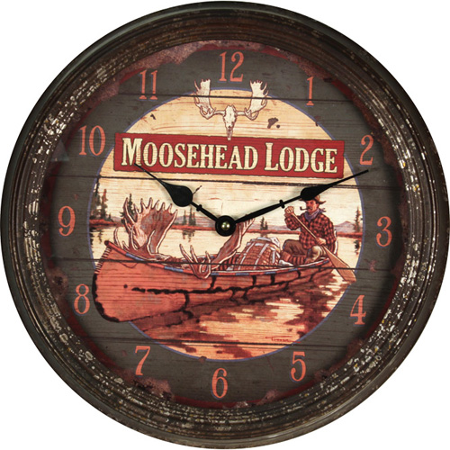 Rivers Edge Products Metal Clock, 15-inch Moosehead