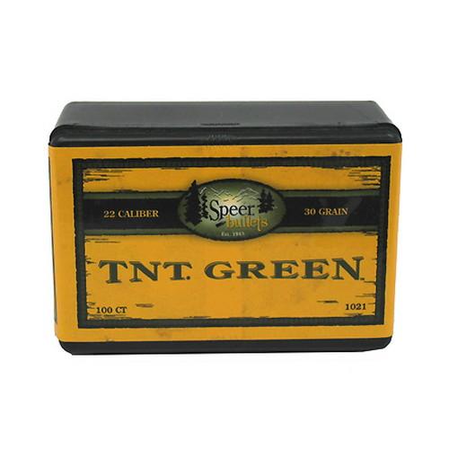 Speer Bullets 1021 TNT Green Rifle 22 Caliber .224 30 gr Hollow Point 100 Box