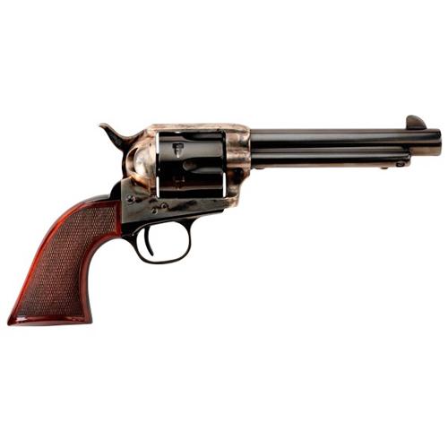 Taylors and Company 556201DE Short Stroke Smoke Wagon Navy Grip Single 45 Colt (LC) 4.75 6rd Walnut Blued in.