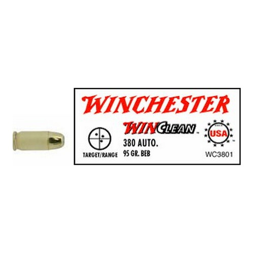 Winchester Ammo WC3801 WinClean 380 Automatic Colt Pistol (ACP) 95 GR Brass Enclosed Base 50 Bx| 10 Cs