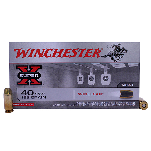 Winchester Ammo WC401 WinClean 40 Smith & Wesson 165 GR Brass Enclosed Base 50 Bx| 10 Cs