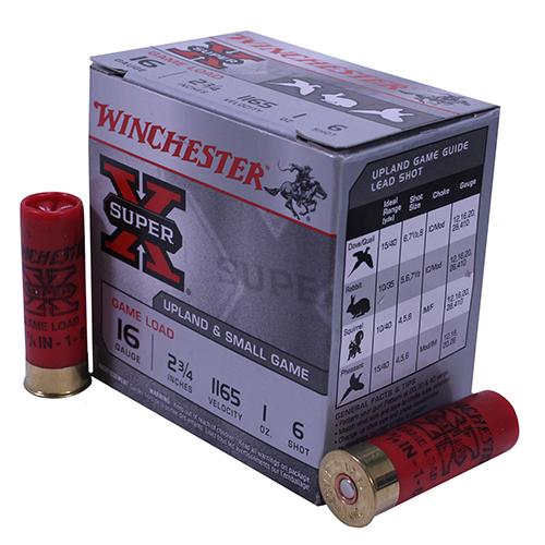 Winchester Ammo XU166 Super-X Game & Field 16 Gauge 2.75 1 oz 6 Shot 25 Bx| 10 Cs in.