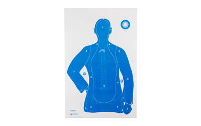 ACTION TARGET INC FB21EANTAV2100 B-21E Qualification Target Hanging Paper Silhouette/Vitals White/Blue 100