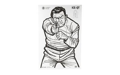 ACTION TARGET INC ICE-QT(2009)-100 ICE-QT Training Target (2009) Hanging Paper 23in. x 35in. Man w/Gun Tan 100 Per Box