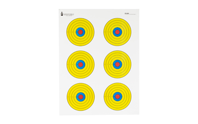 ACTION TARGET INC PR-BE6-100 High Visibility Fluorescent 6 Bull's-Eye Paper 17.50in. x 23in. Bullseye Black/Blue/Red/Yellow 100