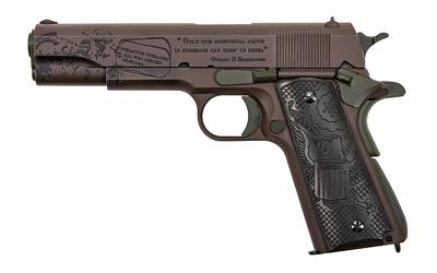 Thompson 1911BKOWC4 1911 The General 45 ACP Single 5in. 7+1 Black Army Eagle Engraved Grip Patriot Brown Cerakote Steel Slide