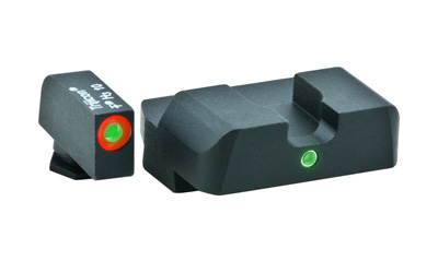 AmeriGlo GL203 i-Dot Night Sight Set Glock 20|21|29|30|31|32|36|41 Green w|Orange Outline Front Green w|White Outline Rear Black