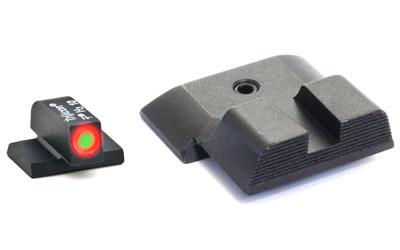 AmeriGlo SW433B Hackathorn Sight S&W M&P Full|Compact Tritium Green w|Orange Outline Steel Black Black